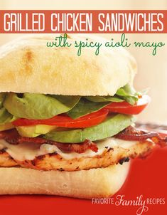love a good grilled chicken sandwich, especially when it is accompanied with some grilled bacon and avocado. This grilled chicken sandwich with spicy aioli mayo won't disappoint! Grilled Chicken Sandwiches, Chicken Sandwich Recipes, Soup And Sandwich, Lunch Recipes, Healthy Recipes, Grilled Sandwich, Chicken Avocado Sandwich, Chicken Sandwhich, Dinner Sandwiches