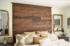 Wood planked headboard before they took it down.