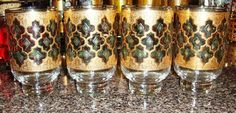 Culver Valencia footed Suburban glasses. Ultra rare - cross between Valencia (green diamond) and Seville (blue diamond) patterns. Diamond background is teal with gold symbol in center. Loving it!