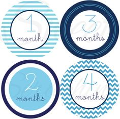 Monthly Onesie Stickers for Boys- The Blues - Etsykids Team - Etsy Baby - Boy Onesie Stickers - First Year Stickers