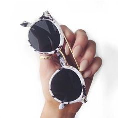 e1911869454 Round Sunglasses With Metal Bridge High Bar With Flat Lens And Marble Finish