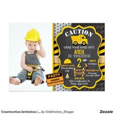 Construction Party Invitations Template Construction party