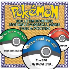 * Product updated 9-1-16 to add more Pokeball templates, updated the borders, and greatly improved the posters (adding 2 more) and making a editable line under the titles. This product comes with an editable Pokeball name tag template that can be reproduced to have one for each student in the class.