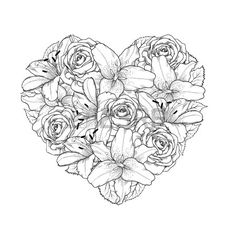 line drawing floral heart Mandala Coloring Pages, Coloring Book Pages, Printable Coloring Pages, Chrysanthemum Tattoo, Free Adult Coloring, Desenho Tattoo, Free Vector Art, Colorful Pictures, Line Drawing
