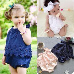 2016 New Arrive Autumn Cute Infant Baby Girl Flower Lace Romper Bodysuit Sunsuit Jumpsuit Outfit Set Clothes