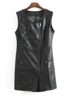 Vestido polipiel cremallera cuello redondo sin mangas-Negro EUR28.00