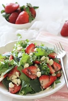 Mixed Baby Greens with Strawberries, Gorgonzola and Poppy Seed Dressing