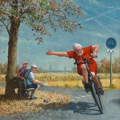 """""""A new Marius van Dokkum is always a good thing.go Granny go. Art And Illustration, Photo Velo, Bicycle Art, Expressive Art, Dutch Artists, Cycling Art, Painting & Drawing, Watercolor Art, Illustrators"""