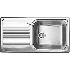 Single Bowl, Left-Hand Drainboard Topmount Stainless Steel Kitchen Sink