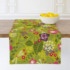 Loving this punchy color table runner to liven up meal time, Tropical Fusion Self-Launch Table runners Modern Table Runners, Accent Decor, Ottoman, Decorative Boxes, Product Launch, Tropical, Meal, Chair, Furniture