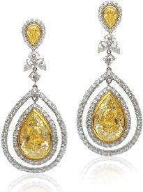 Beautiful Natural Yellow Diamond Earrings