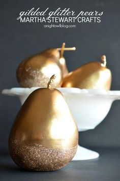 Make these beautiful Gilded Glitter Pears with #MarthaStewartCrafts gold gilding, decoupage and glitter!
