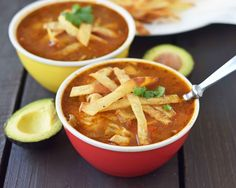 Homemade Chicken Tortilla Soup. The BEST Chicken Tortilla Soup made with tender chicken, Mexican spices, and homemade tortilla strips. www.modernhoney.com