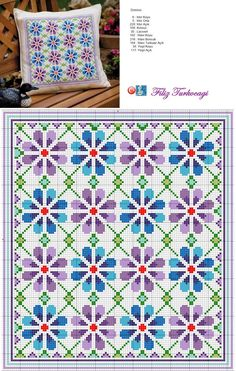 Floral pattern designed by Filiz Türkocağı Cross Stitch Borders, Cross Stitch Flowers, Cross Stitch Charts, Cross Stitch Designs, Cross Stitching, Cross Stitch Embroidery, Embroidery Patterns, Cross Stitch Patterns, Cross Stitch Cushion