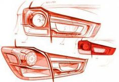 Mitsubishi ASX Tail-light Design Sketches - Car Body Design