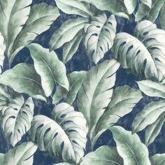 Palma Tropical Wallpaper Navy - Wallpaper from I Love Wallpaper UK