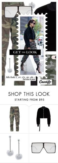 """Model Off-Duty: Camo Style"" by cultofsharon ❤ liked on Polyvore featuring RE/DONE, Unravel, tuleste market, Yves Saint Laurent and Casetify"