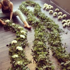 Making garland for an Arcadian Loft wedding @Rachelle Soucy