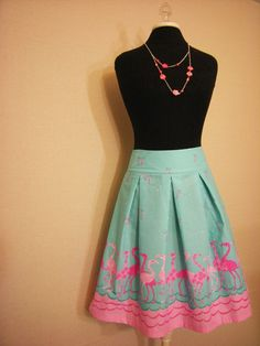 Flamingo Pleat Skirt  Size 2 by nissalynn on Etsy, $30.00