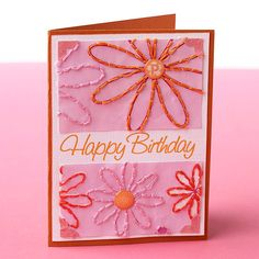DIY Gifts : 16 Creative Card-Making Ideas Make a homemade card to really show someone how much you love or appreciate them. Our step by step directions Simple Birthday Cards, Handmade Birthday Cards, Pink Cards, Making Greeting Cards, Cute Cards, Easy Cards, Creative Cards, Creative Ideas, Paper Decorations