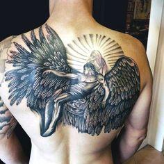 Full Back Wing Tattoos For Men Of Fallen Angel