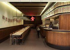 マレーシアの古いコーヒーショップのデザインを参照したという香港のレストラン。蛍光灯とグラフィックが実にクール。