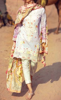 Buy Lilac Embroidered Cotton Lawn Dress by Zara Shahjahan 2016