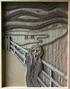 It's just cardboard. Munch's Scream By Mark Langan. Amazing and Incredible Corrugated Cardboard Art ~ Edvard Munch, Art And Illustration, Cardboard Sculpture, Cardboard Art, Sculpture Art, Relief En Carton, Cardboard Relief, Scream Art, 3d Art