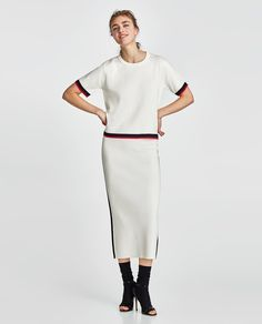 ZARA - NEW COLLECTION - SWEATER WITH CONTRASTING PIPING
