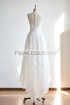 Sheer Illusion Neck High Low Ivory Lace Wedding dress Bridal Gown