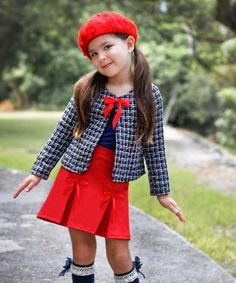 Look what I found on #zulily! Mia Belle Baby Brown & Red Laura Jacket & Red Pleated Skirt - Toddler & Girls by Mia Belle Baby #zulilyfinds