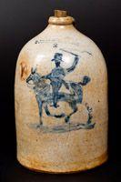 Very Fine M. TYLER / ALBANY, NY Stoneware Jug with Horse and Rider Decoration