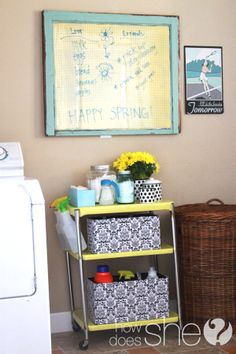 Great ideas on how to organize your cleaning supplies to make them look cute and functional! Especially love the cart on wheels...so much easier to take around the house!