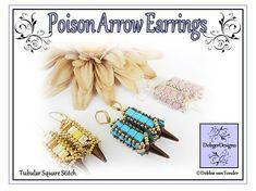Tila Beading Pattern, Tutorial, Earrings - POISON ARROW Peyote Patterns, Loom Patterns, Beading Patterns, Arrow Earrings, Cute Earrings, Earring Tutorial, Seed Beads, Pattern Design, Weaving