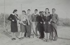 French 1940's Photograph - Group of Young Men & Women Stood Together by ChicEtChoc on Etsy