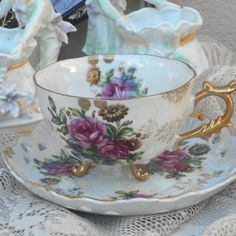 Vintage Duo 1950's Lustreware Cup & Saucer by silvermoonnostalgia lovely vintage find for a tea lover, you can never have too many fine china tea cups and saucers!