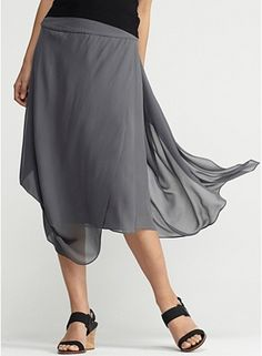 Eileen Fisher: Knee-length draped skirt with yoke in sheer silk georgette.