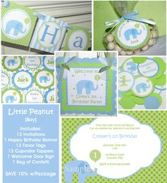 Little Peanut Blue Elephant Birthday Party Package - Invitations, banner, cupcake toppers, favor tags & confetti - SAVE WITH PACKAGE. $65.00, via Etsy.