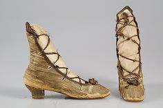Evening boots  Date: 1860–69  Culture: probably French  Medium: Linen, metallic, sequins  Credit Line: Brooklyn Museum Costume Collection at The Metropolitan Museum of Art, Gift of the Brooklyn Museum, 2009; Gift of Mrs. Chauncey E. Low, 1931  Accession Number: 2009.300.4195a, b  Metropolitan Museum of Art