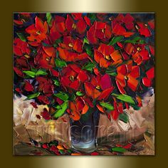 Poppy Red Poppies Floral Canvas Modern Flower Oil Painting Textured Palette Knife Original Art 16X16 by Willson Lau