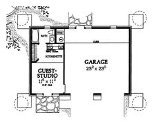 One Story Garage W Apartment 294 Sf Floor Plans