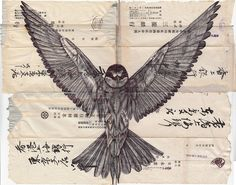 "Saatchi Art is pleased to offer the drawing, ""Bic biro drawing on a collection of Japanese envelopes.,"" by Mark Powell. Original Drawing: Pen and Ink on N/A. Mark Powell, Gravure Photo, Biro Drawing, Art Postal, Envelope Art, Colossal Art, Paper Illustration, Mail Art, Bird Art"