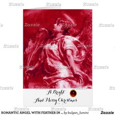 ROMANTIC ANGEL,FEATHER,ANTIQUE RED,WHITE Christmas Card #xmas #archangelgabriel #fineart #spiritual #beauty