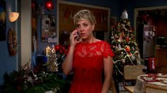 Penny is very festive in this red lace dress she wears to Amy's Christmas party. While she's on the phone with Leonard, we're on our phones trying to see if the store still has this in stock.