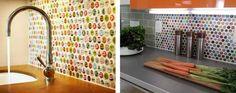 Küchenrückwand Ideen - Ein buntes Design können Sie auch mit Flaschendeckeln gestalten