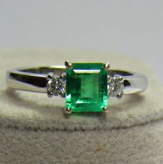 Natural-1-00CT-AAA-Fine-Colombian-Emerald-Diamond-Ring-18K-White-Gold