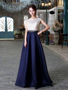 1950s Vintage Inspired Style Elegant Color Block Beaded Prom Evening Dress