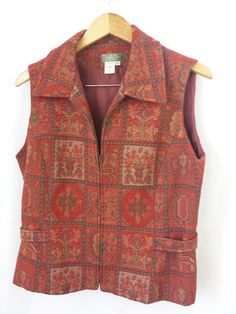 The Territory Ahead Vest Size 12 Tapestry Zipper Front Orange/Brown Made in USA #TheTerritoryAhead