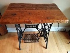 Antique Sewing Machine Table, Vintage Sewing Table, Antique Sewing Machines, Old Barn Wood, Reclaimed Barn Wood, Barn Wood Tables, Barnwood Ideas, Singer Sewing Tables, Singer Table