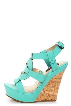 My kind of heel. Yoki Celia 12 Teal Sun Cross T-Strap Platform Wedge Sandals - $36.00